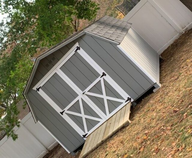 10x10 Mini Barn storage shed delivered to backyard