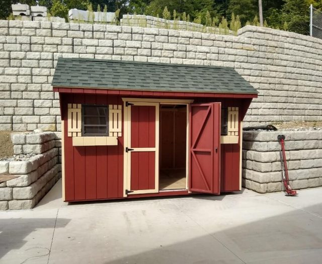 10x14 Backyard Quaker Storage shed in red and cream