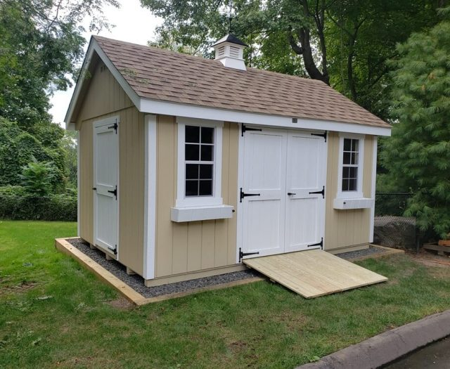 10x14 Elite A Frame Storage shed on gravel pad with ramp