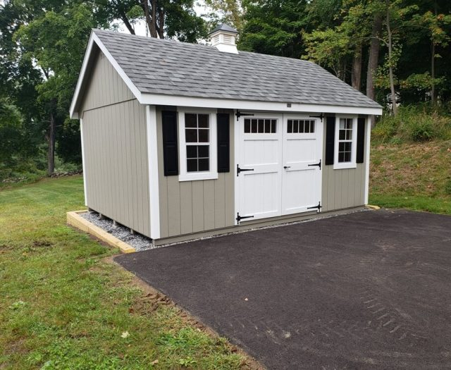 10x16 Elite A Frame at the end of driveway on gravel pad