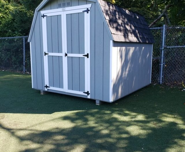 8x10 Mini Barn storage shed in blue and whtie trim