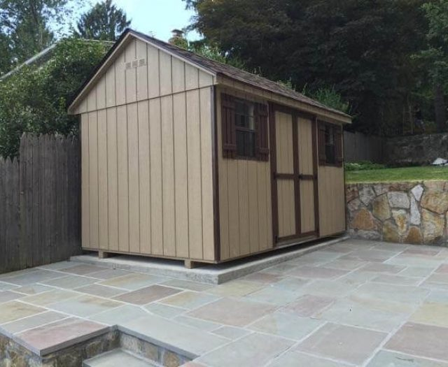 8x14 Backyard Aframe Storage Shed Installed in Small Patio Space