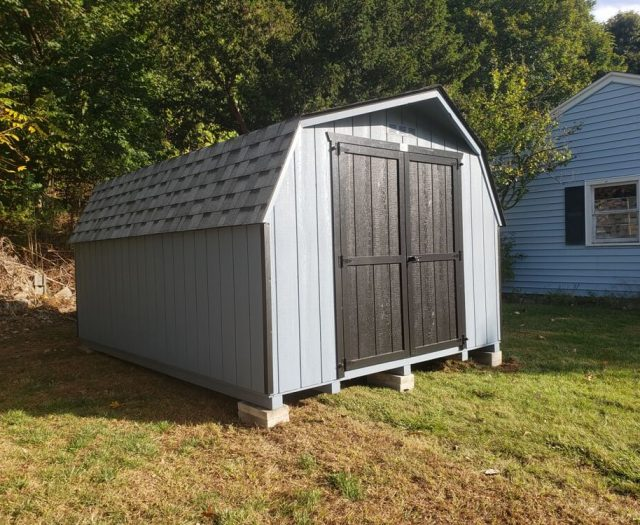 Barn Storage Shed in blue with double doors