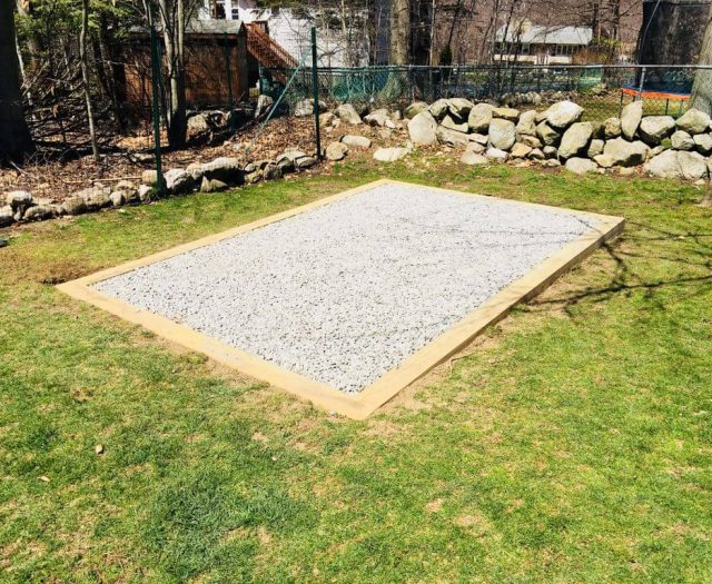 Gravel Pad for a shed delivery in the summer