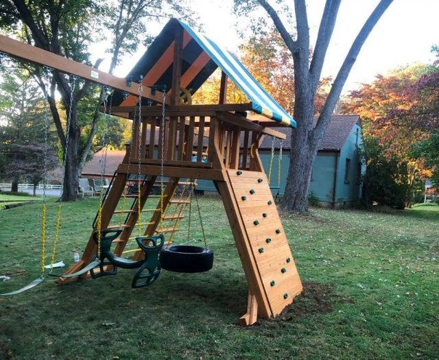 Supreme eastern jungle gym swing set in backyard