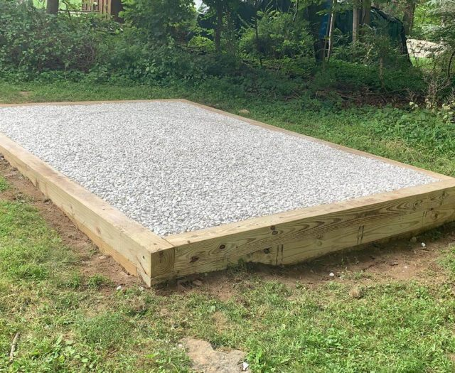 raised gravel pad for shed to be delivered by best in backyards