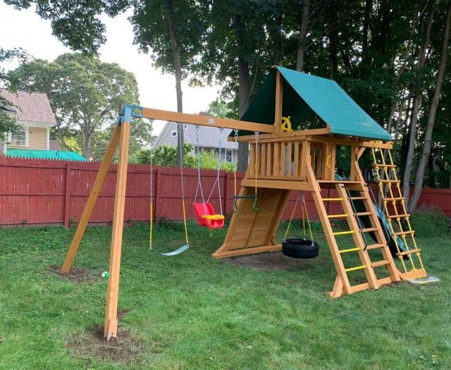 supreme swing set with green canopy