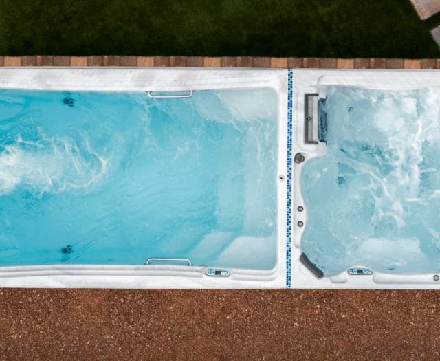 artesian tidal fit dual swim spa and hot tub