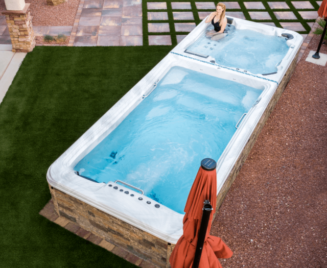 backyard exercise pool and hot tub for family by artesian