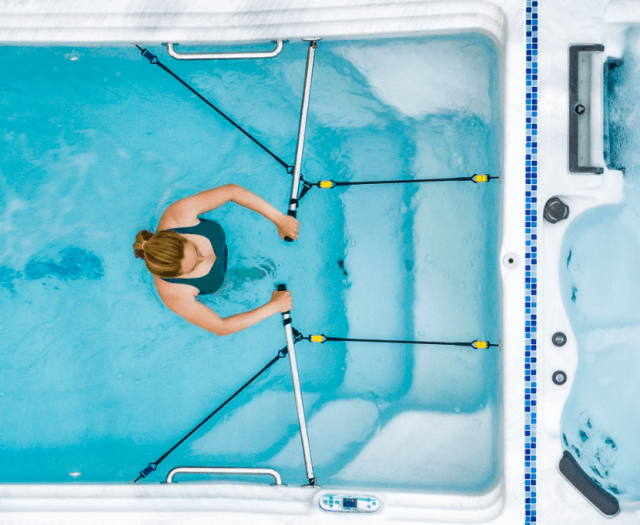 exercise pool and hot tub artesian dual temp tidal fit