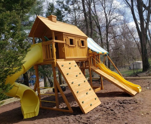 Fantasy Tree House Swing Set with large Rock Wall