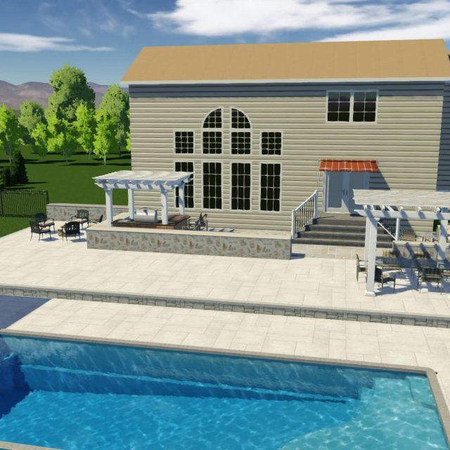 backyard inground pool and new patio