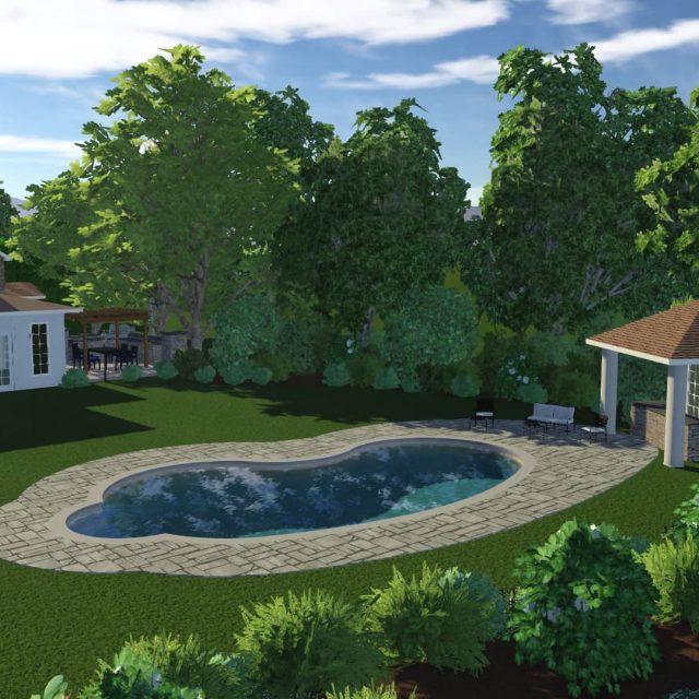 new pool cabana installation beside fiberglass inground pool