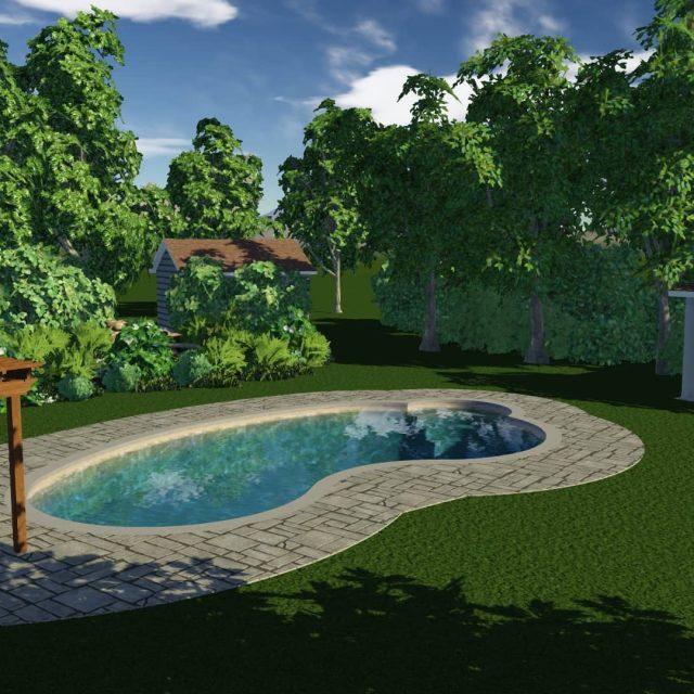 new pool house installation by fiberglass inground pool