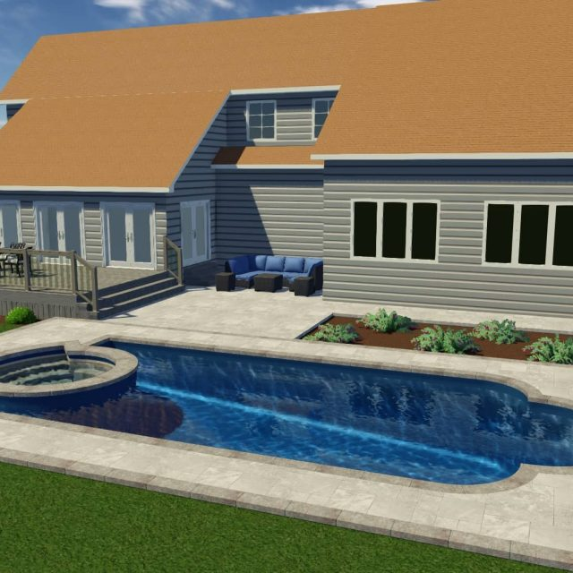 patio installation beside fiberglass inground pool