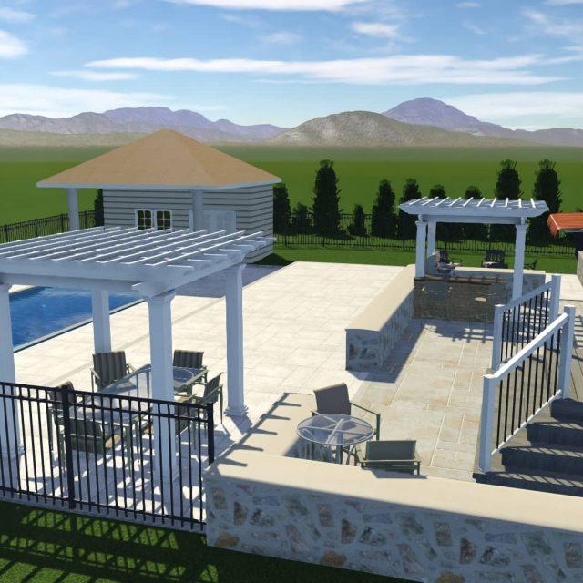 new patio around fiberglass inground pool