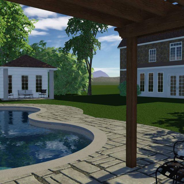 new fiberglass inground pool installation and new pool house