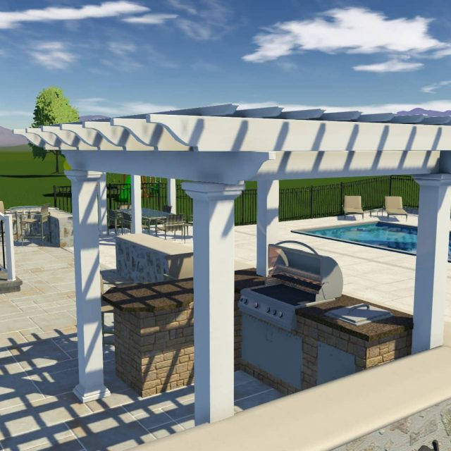 outdoor kitchen installation beside fiberglass inground pool