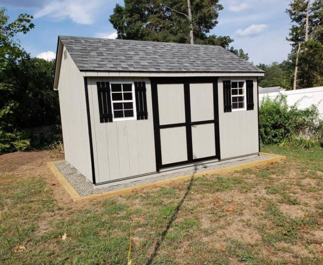 A- Frame Backyard Shed with Gray T-111 Siding and Double Door, Black Trim and Shutters
