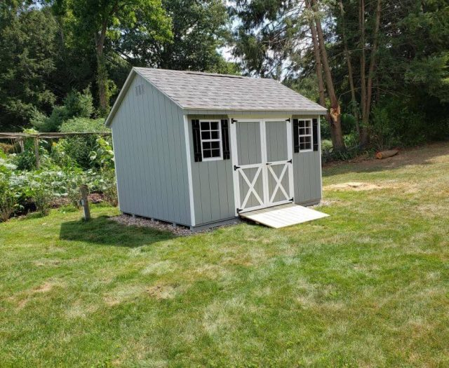 A-Frame Shed with T-111 Lt. Gray Siding and Double Door, White Trim, and Black Shutters