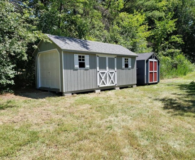 A-Frame Single Car Garage with Blue Gray T-111 Siding, White Trim and Shutters