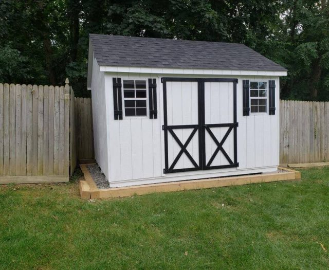 A-Frame Storage Shed with White T-111 Door and Siding, Black Trim and Shutters
