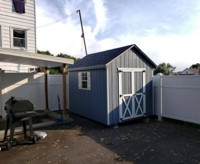 A-Frame T-111 Blue Siding, White Trim and Shutters