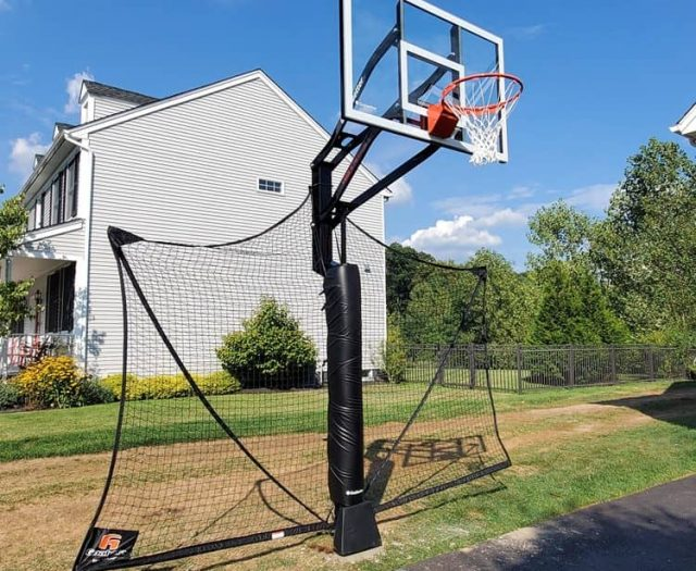 All American Basketball Hoop with Black Pole Pad and Net Ball Catcher