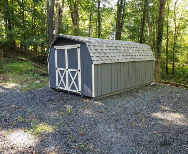 Barn Backyard Shed with Olive T-111 Siding and White Trim