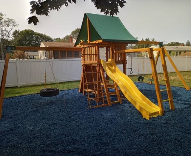 Dream Jungle Gym with Rubber Mulch and Swings