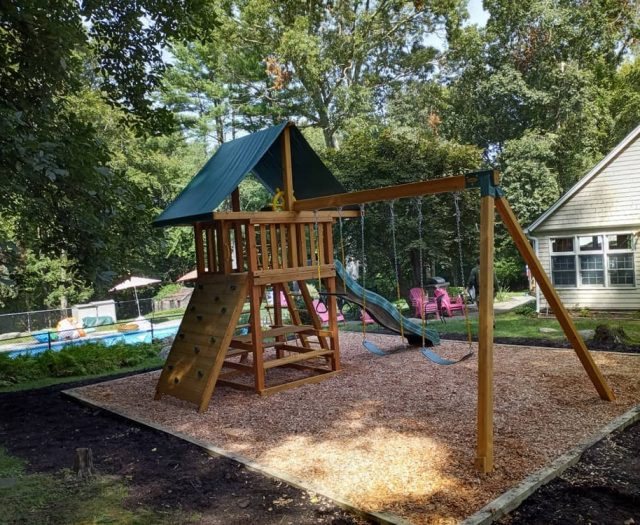 Dream Jungle Gym with Wooden Step Ladder and Picnic Table
