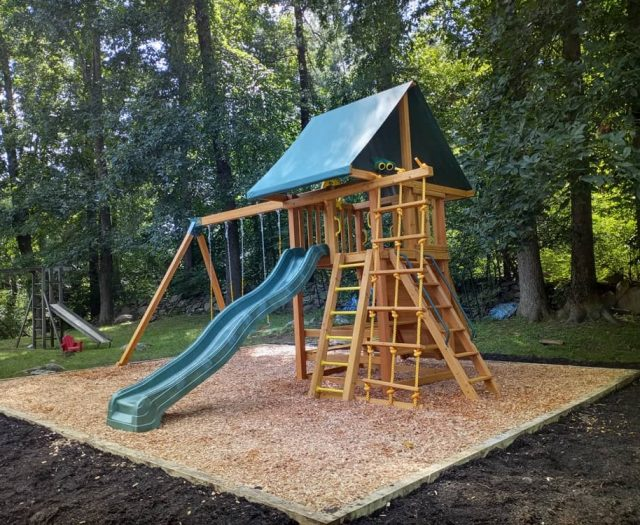 Dream Swing Set with Add on Wooden Step Ladder and Picnic Table