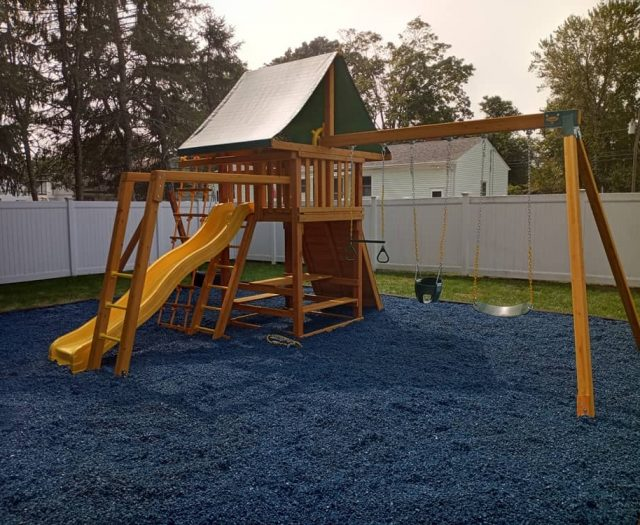 Dream Swing Set with Blue Rubber Mulch