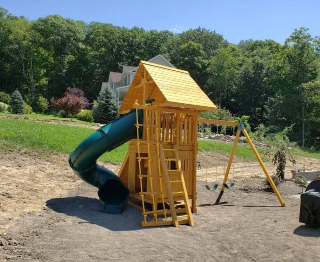 Dream Swing Set with Wooden Roof, Lower Club House, and Spiral Slide Add OnsDream Swing Set with Wooden Roof, Lower Club House, and Spiral Slide Add Ons