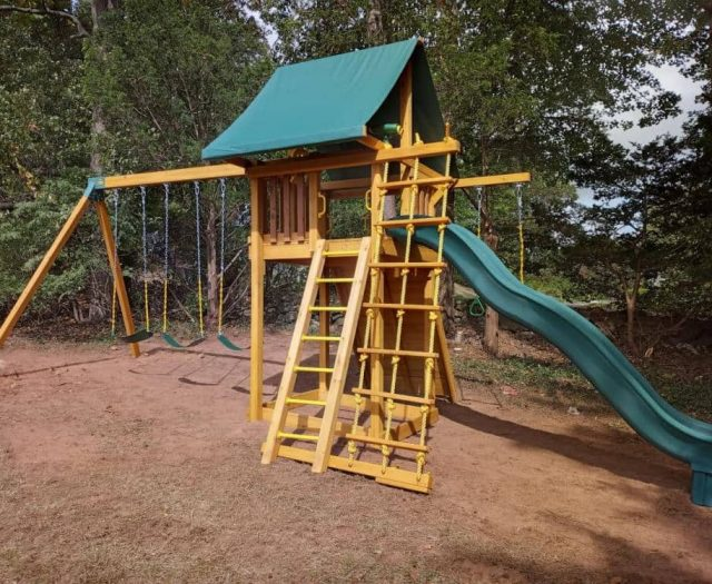 Dream Wooden Swing Set with Green Wave Slide