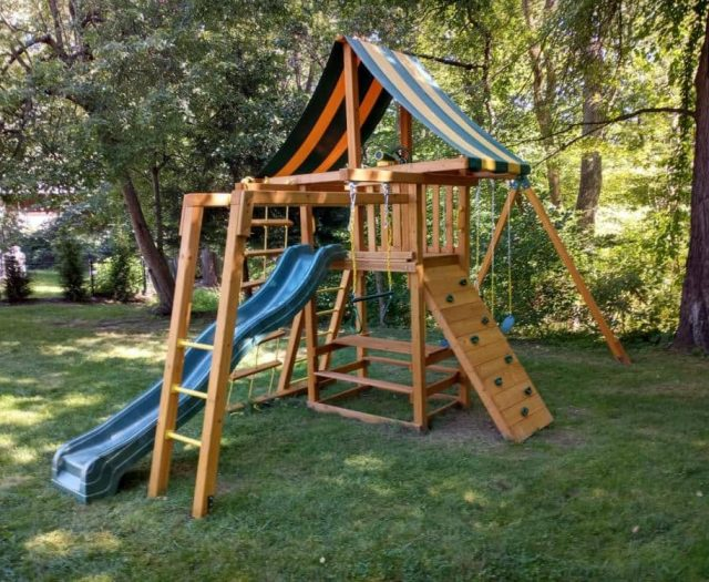 Dreamscape Swing Set with Add On Picnic Table and Monkey Bars