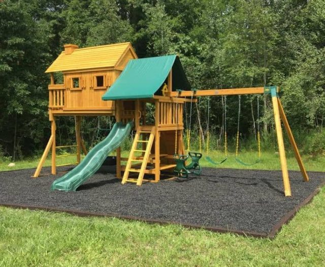 Fantasy Tree House Jungle Gym with Black Mulch