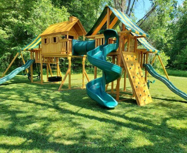 Imagination Swing Set with Open Spiral Slide