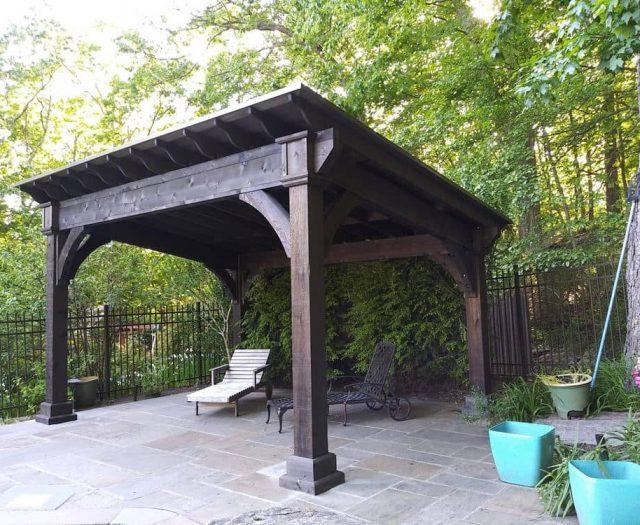 Santa Fe Wooden Pavilion with Cinder Stain