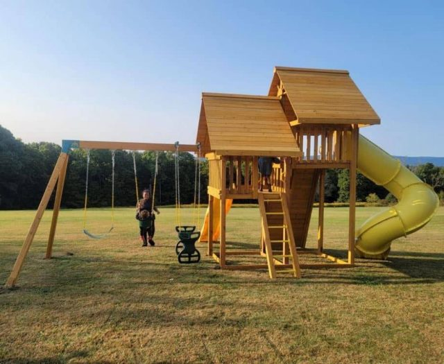 Sky Swing Set with Yellow Spiral Slide and Rock Wall