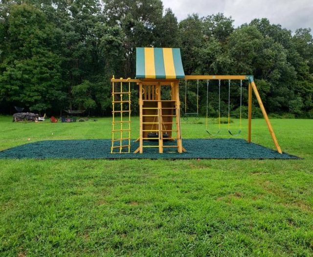 Supreme Swing Set with Green Rubber Mulch