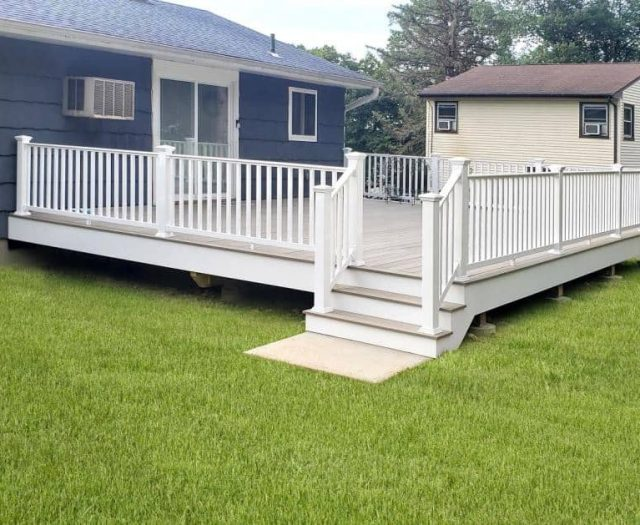 White Vinyl Deck with Westminster Gray Composite