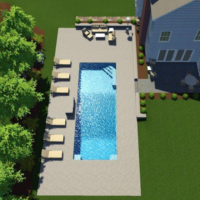residential backyard inground pool installation