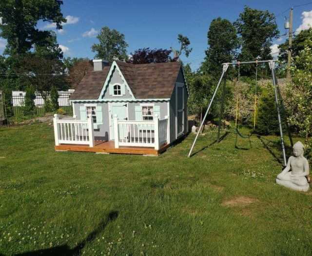 Victorian Kids Playhouse with Blue T-111 Siding, White Railings, Lt.Blue Door and Shutters