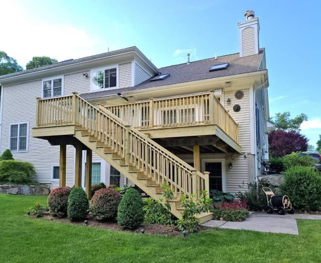 pressure treated lumber deck and staircase