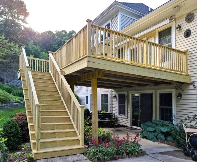 deck staircase built with pressure treated lumber