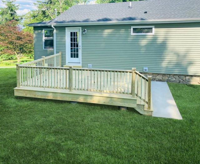 Pressure Treated Wooden Deck with Railings