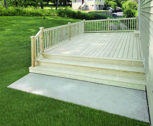 Wooden Deck with Concrete Landing