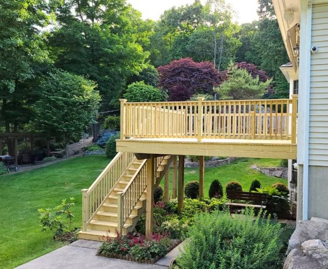 two story pressure treated deck in ny