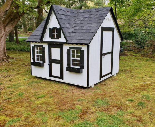 Victorian Playhouse with White T-111 Siding and Black Trim